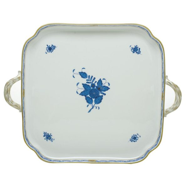Chinese Bouquet Square Tray w Handles